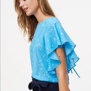 LOFT blue and white flutter sleeve blouse